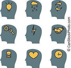Head brain vector icons set, representing the ideas and thought process