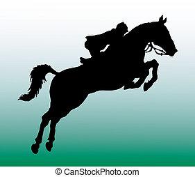 ilhouette of horseman - vector illustrationn of man on a...