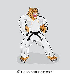 Martial arts fighter leopard in the white gi with black belt
