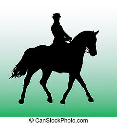 ilhouette of horsewoman - vector illustrationn of woman on a...