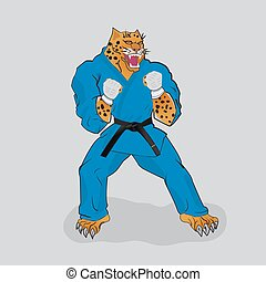 Martial arts fighter leopard in the blue gi with black belt