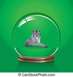 White tiger - vector illustration of white tiger in a glass...