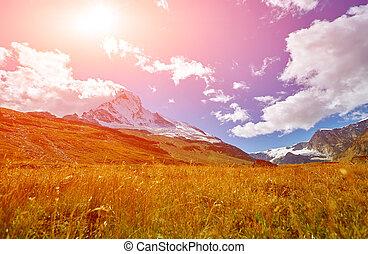 Snow capped mountains Switzerland, Trek near Matterhorn...