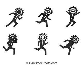 running businessman with gear head