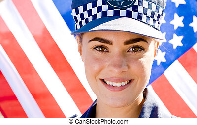 retrato, mujer policía