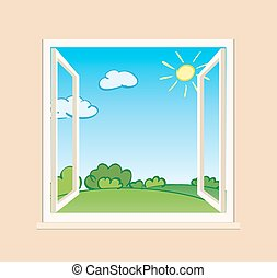 open window with green nature outside - vector illustration