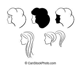 heads of women - vector