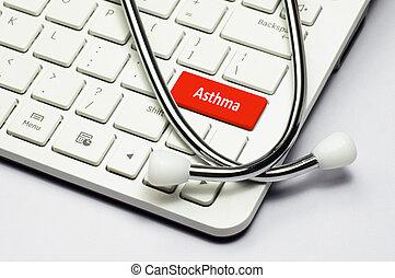 Keyboard, Asthma text and Stethoscope - Asthma text,...