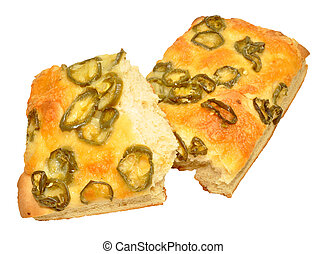 Jalapeno Pepper Focaccia Bread - Cheese and fiery jalapeno...