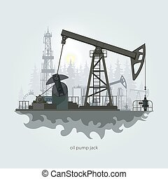 Oil Pump Jack - Pumpjack in the Background of Fir Trees and...
