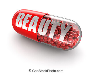 Pill beauty Image with clipping path