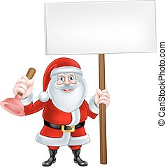 Cartoon Santa Plumber Sign
