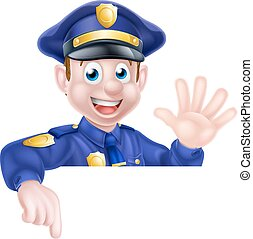 Cartoon Policeman Pointing - A cartoon friendly policeman...