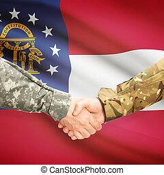 Military handshake and US state flag - Georgia