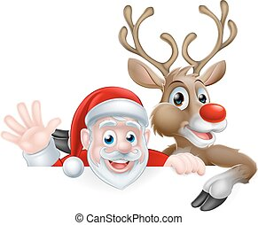Santa and Reindeer Cartoon - Christmas illustration of...