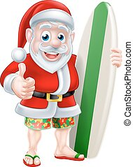 Surfing Santa - Cartoon of surfing Santa Claus holding a...