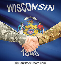 Military handshake and US state flag - Wisconsin - Soldiers...