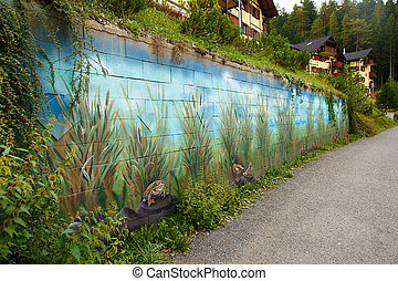 view on a lake side with wild nature scenery wall painting.