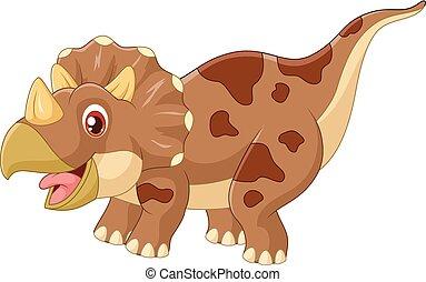 Cartoon triceratops three horned - dinosaur, extinct,...