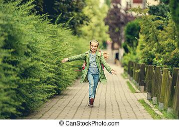 little girl go home from school - happy little girl go home...