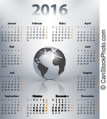 German business calendar for 2016 year in with the world globe in a spot