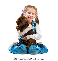 little girl with her dachshnd