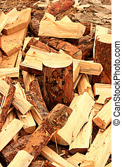 chopped firewood logs - Closeup of chopped firewood logs
