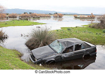 Car crash in a flooded area of Greece