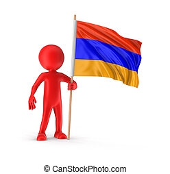 Man and Armenian flag
