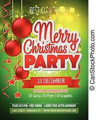 Christmas party flyer. Vector template