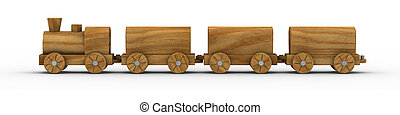Toy Train 02 - Wooden toy train isolated on a white...