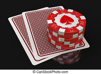 chips of casino and cards