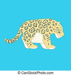 Flat hand drawn icon of a cute jaguar Animal on blue...