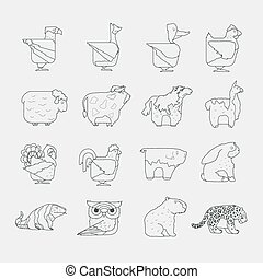 Line design vector animals icon set. Zoo children cartoon...