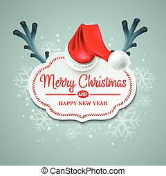 Christmas card with Santa Claus hat and reindeer antlers EPS...