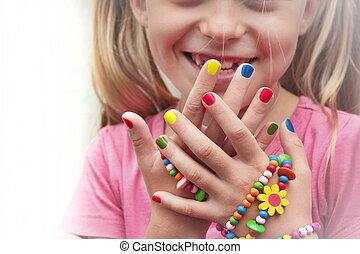 Children's multicolored manicure . - Children's multicolored...