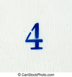 Number 4 - Spray painted number four o a white background