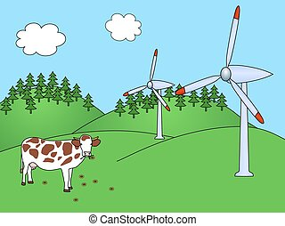 Wind power plants with cow