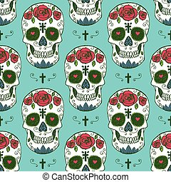 Sketch mexican skull in vintage style, vector seamless...