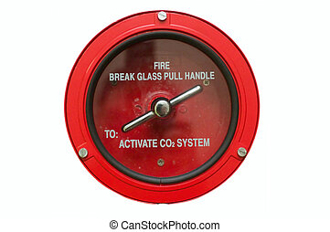 Fire Alarm - Round fire alarm switch White isolated