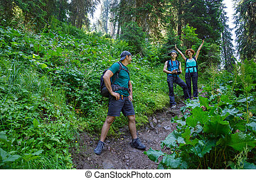 Hikers on the mountain trail - Family hikers walking on a...