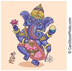 Indian god Ganesha - Vector illustration of an Indian god -...