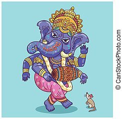 Dancing Ganesha - Vector illustration of an Indian god -...