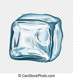 Transparent ice cube in blue colors