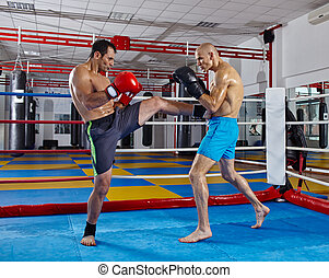 Kickbox fighters in the ring - Two muay thai fighters in a...
