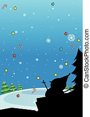 Silhouette of Christmas with snowman
