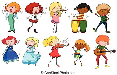Singers and musicians in actions illustration