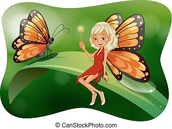 Beautiful fairy with butterfly