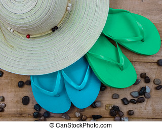Flip Flop blue and Green