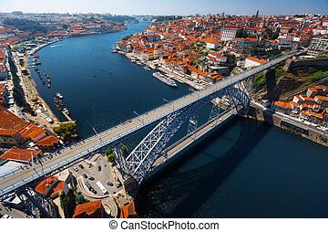 Porto city aerial view - Aerial shot of the metal arch brige...